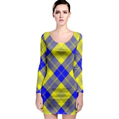 Smart Plaid Blue Yellow Long Sleeve Bodycon Dresses