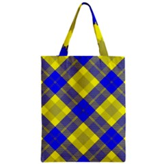 Smart Plaid Blue Yellow Classic Tote Bags