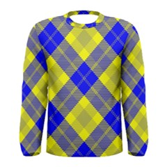 Smart Plaid Blue Yellow Men s Long Sleeve T-shirts