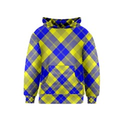 Smart Plaid Blue Yellow Kid s Pullover Hoodies