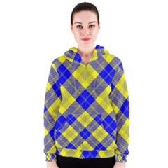 Smart Plaid Blue Yellow Women s Zipper Hoodies