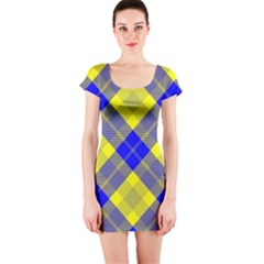 Smart Plaid Blue Yellow Short Sleeve Bodycon Dresses