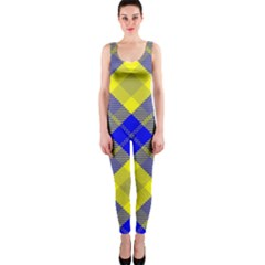 Smart Plaid Blue Yellow OnePiece Catsuits