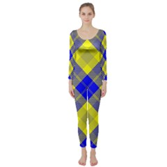 Smart Plaid Blue Yellow Long Sleeve Catsuit