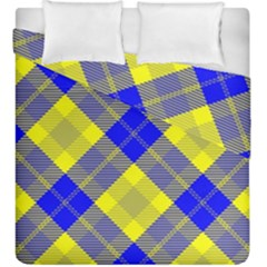 Smart Plaid Blue Yellow Duvet Cover (king Size)