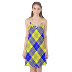 Smart Plaid Blue Yellow Camis Nightgown