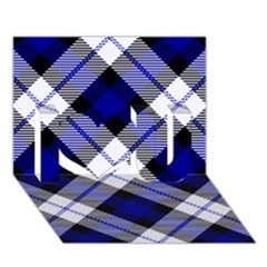 Smart Plaid Blue I Love You 3D Greeting Card (7x5)