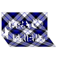 Smart Plaid Blue Best Friends 3d Greeting Card (8x4)