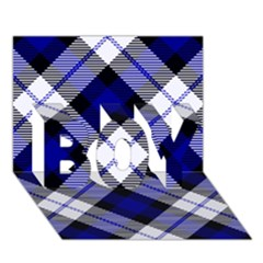 Smart Plaid Blue Boy 3d Greeting Card (7x5)