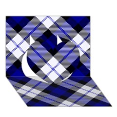 Smart Plaid Blue Heart 3D Greeting Card (7x5)