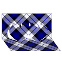 Smart Plaid Blue Twin Hearts 3d Greeting Card (8x4)