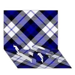 Smart Plaid Blue LOVE Bottom 3D Greeting Card (7x5)