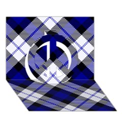 Smart Plaid Blue Peace Sign 3D Greeting Card (7x5)