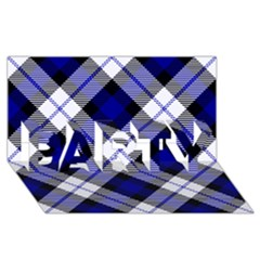 Smart Plaid Blue Party 3d Greeting Card (8x4)