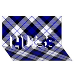 Smart Plaid Blue HUGS 3D Greeting Card (8x4)