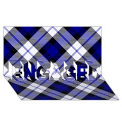 Smart Plaid Blue ENGAGED 3D Greeting Card (8x4)