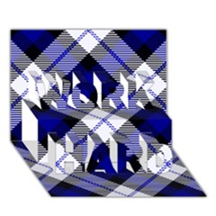 Smart Plaid Blue Work Hard 3d Greeting Card (7x5)