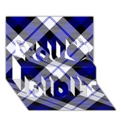 Smart Plaid Blue You Did It 3d Greeting Card (7x5)