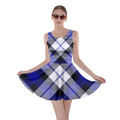 Smart Plaid Blue Skater Dresses