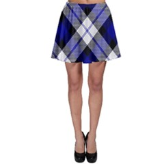 Smart Plaid Blue Skater Skirts