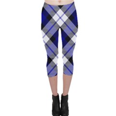 Smart Plaid Blue Capri Leggings