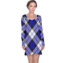 Smart Plaid Blue Long Sleeve Nightdresses