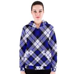 Smart Plaid Blue Women s Zipper Hoodies
