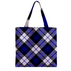 Smart Plaid Blue Zipper Grocery Tote Bags