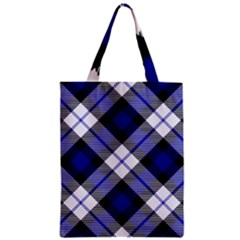 Smart Plaid Blue Zipper Classic Tote Bags