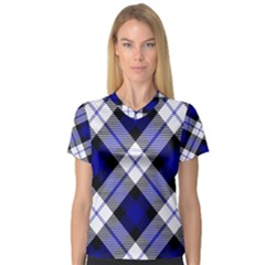 Smart Plaid Blue Women s V Neck Sport Mesh Tee