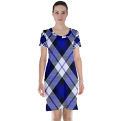 Smart Plaid Blue Short Sleeve Nightdresses