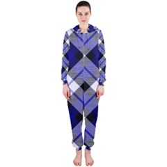 Smart Plaid Blue Hooded Jumpsuit (Ladies)