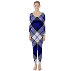 Smart Plaid Blue Long Sleeve Catsuit