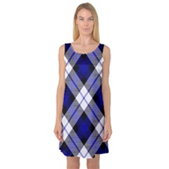 Smart Plaid Blue Sleeveless Satin Nightdresses