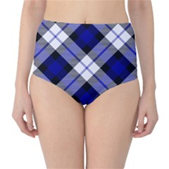 Smart Plaid Blue High Waist Bikini Bottoms