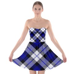 Smart Plaid Blue Strapless Bra Top Dress