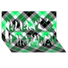 Smart Plaid Green Happy Birthday 3D Greeting Card (8x4)
