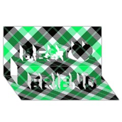 Smart Plaid Green Best Friends 3d Greeting Card (8x4)