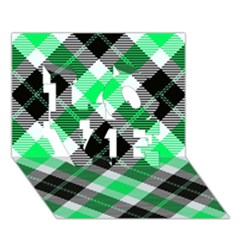 Smart Plaid Green LOVE 3D Greeting Card (7x5)