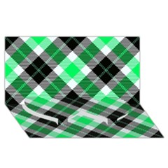 Smart Plaid Green Twin Heart Bottom 3d Greeting Card (8x4)
