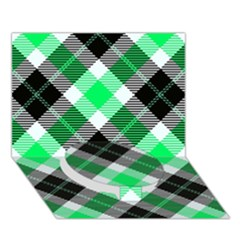 Smart Plaid Green Circle Bottom 3D Greeting Card (7x5)