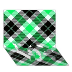 Smart Plaid Green Love Bottom 3d Greeting Card (7x5)