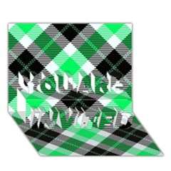 Smart Plaid Green YOU ARE INVITED 3D Greeting Card (7x5)