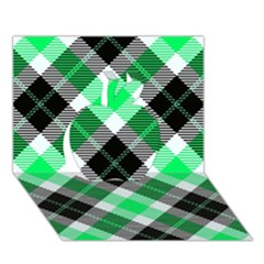 Smart Plaid Green Apple 3D Greeting Card (7x5)