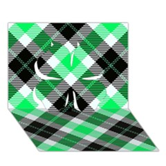 Smart Plaid Green Clover 3d Greeting Card (7x5)