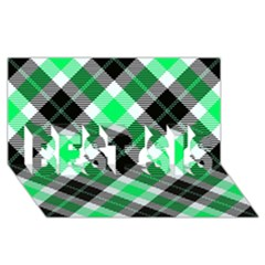 Smart Plaid Green BEST SIS 3D Greeting Card (8x4)