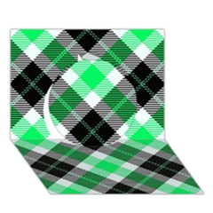 Smart Plaid Green Circle 3D Greeting Card (7x5)