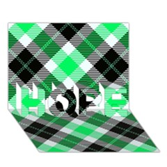 Smart Plaid Green HOPE 3D Greeting Card (7x5)