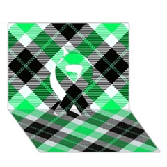 Smart Plaid Green Ribbon 3D Greeting Card (7x5)