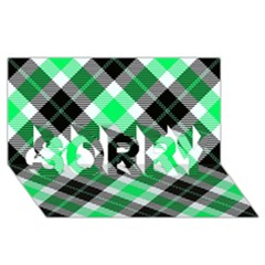 Smart Plaid Green Sorry 3d Greeting Card (8x4)